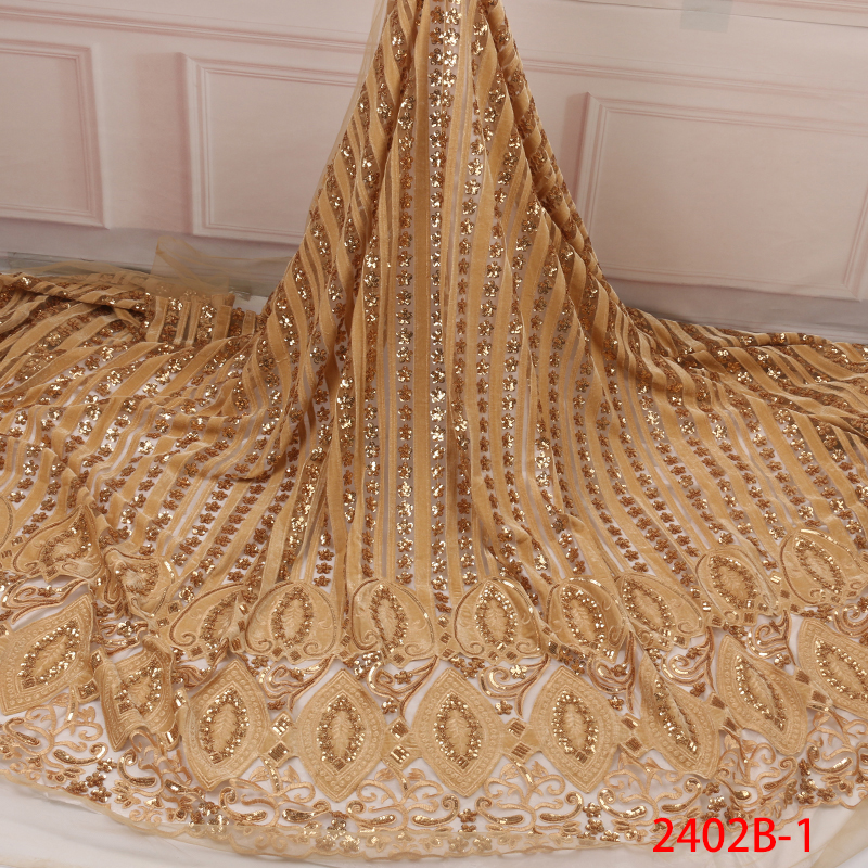 Nigerian Tulle Lace Fabric With Sequins, African French Net Lace Fabric,Embroiderey Mesh For Dresses KS2402B-1