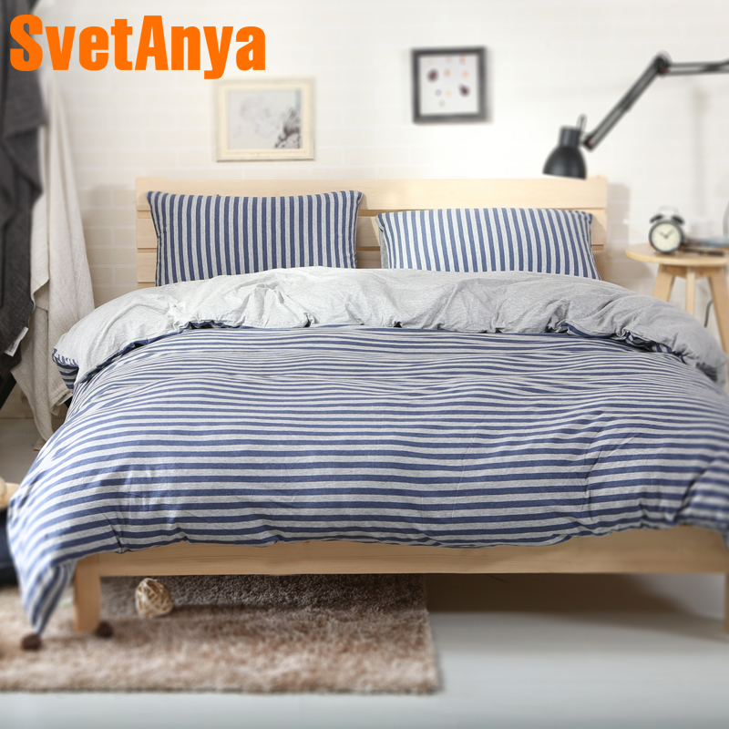 Svetanya Naked Sleep Knitted Cotton Bed Linens Blue Stripe Pattern Home Bedding Sets Fitted or Flat