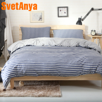 Svetanya Naked Sleep Knitted Cotton Bed Linens Blue Stripe Pattern Home Bedding Sets Fitted or Flat Bedsheet Duvet Cover Sets