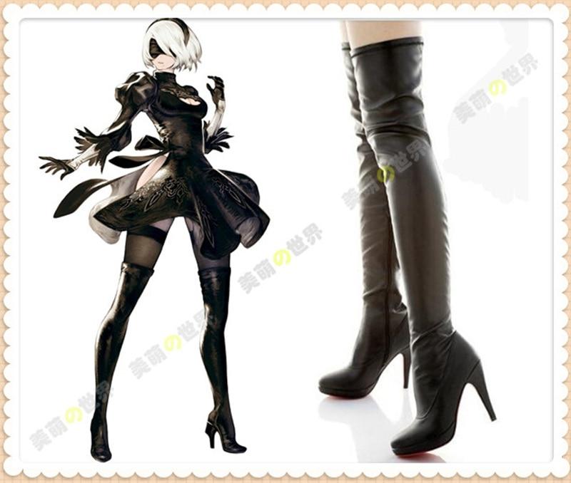 NieR:Automata 2B YoRHa Cosplay Boots No. 2  Comic Con Anime High Heel Long black Boots large size