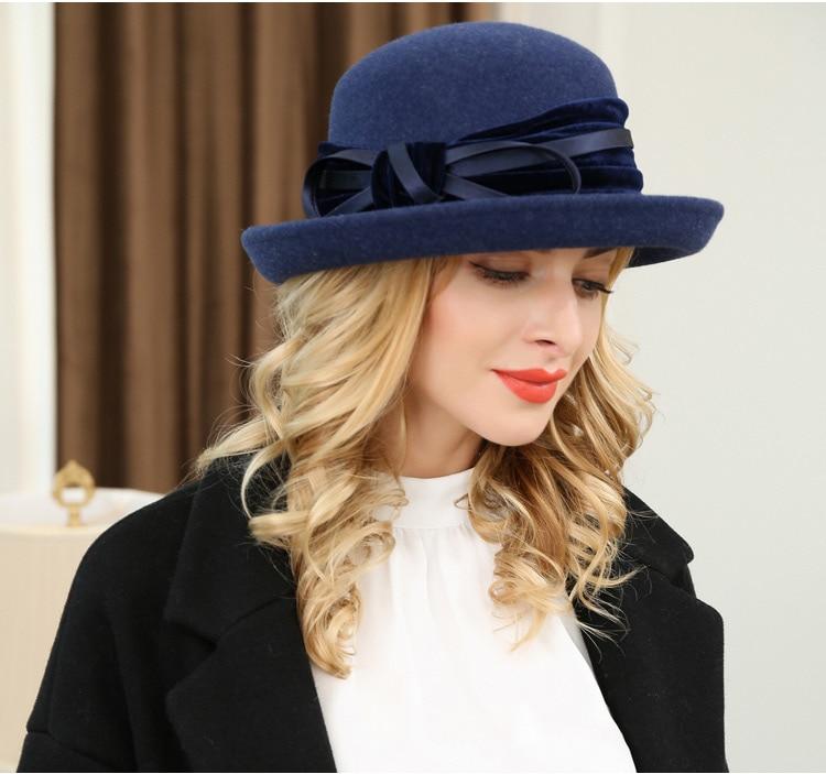 2_Vintage Wide Brim Hats Felt Women Navy Blue Wool Fedora Warm Ladies Bowknot Top Cloche Hat 2018 Chapeau Femme