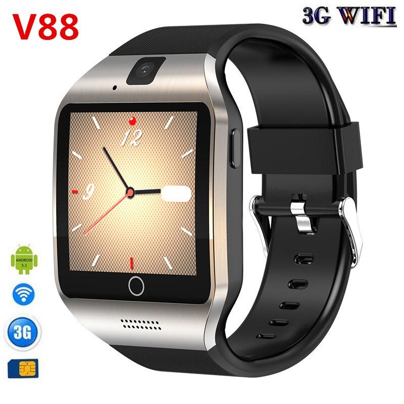 3G WIFI GPS bluetooth montre intelligente V88 Android 5.1 MTK6572 CPU 1.52 pouces 5.0MP caméra smartwatch pour iphone huawei téléphone montre