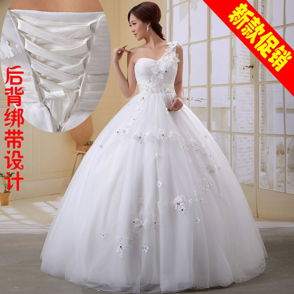 US $138.54 |Free Shipping New 2012 oblique wedding bridal sweet princess  wedding dress fashion strap plus size long design-in Wedding Dresses from  ...