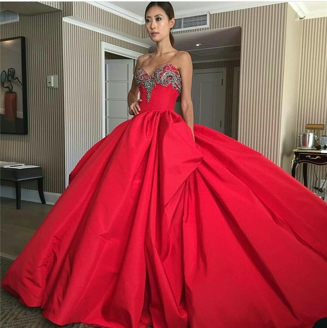 Haute Couture African Red Prom Dresses Long Train