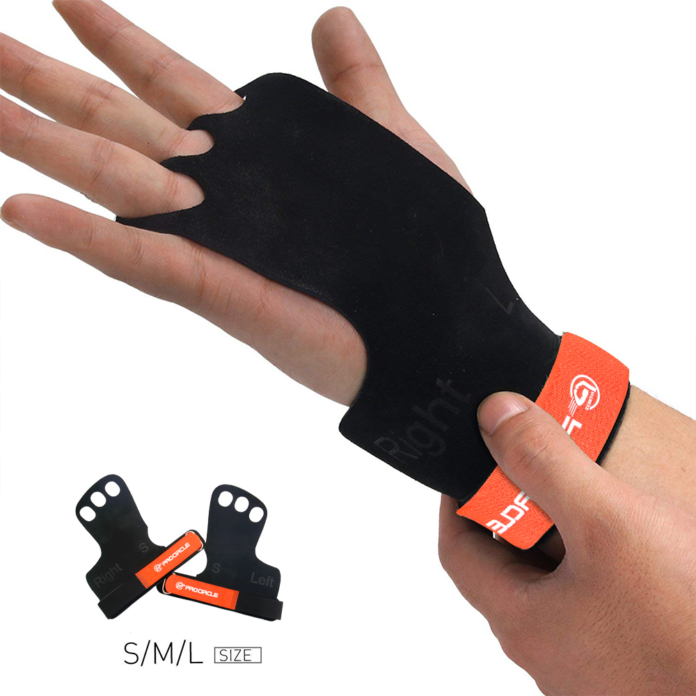 ProCircle Leather Gymnastic Grips Weight Lifting Training Gloves 3 Hole With Wrist Support Palm Protection For Pullups Crossfit