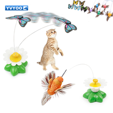 YVYOO Electric Rotating Colorful Butterfly Funny dog Cat Toys bird Pet Scratch Toy For Kitten cat intelligence trainning