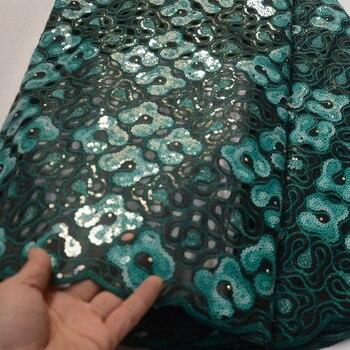 5 ярдов/шт) Высококачественная Бирюзовая зеленая африканская ручная кружевная ткань из двойной органзы со сплошными блестками вышивка для