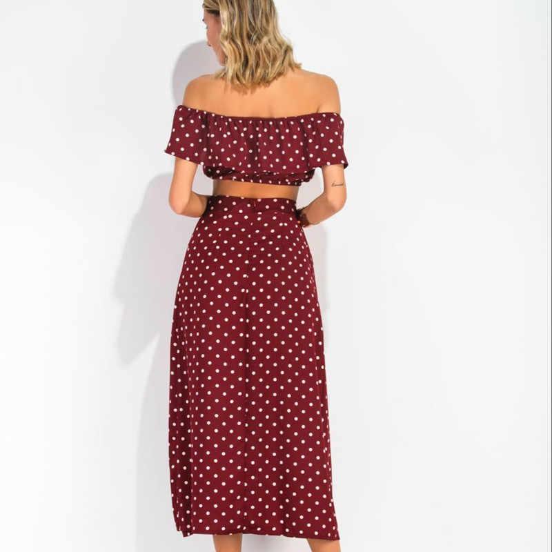 77afa5b4a56 ... 2018 Casual Long Polka Dot Slash Neck Chiffon Dress Women Summer Boho  Loose Ruffles Off Shoulder