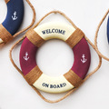 Creative Home American Style Rural Retro Life Buoy Decoration Red Blue Small