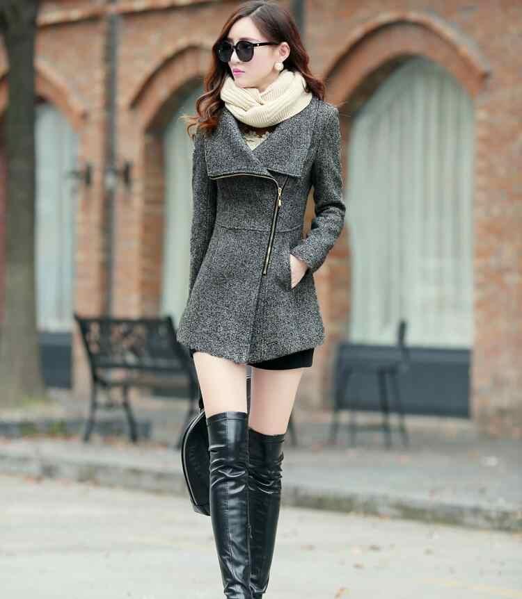 2018 элегантный отложной воротник зимний теплый шерстяной женский пальто куртки женская повседневная одежда модные женские тонкие пальто плюс размер