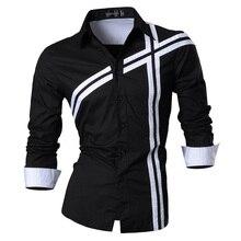 جانيسيان ربيع الخريف الميزات قمصان الرجال جينز غير رسمي قميص جديد وصول طويلة الأكمام عادية سليم صالح قمصان الذكور Z006