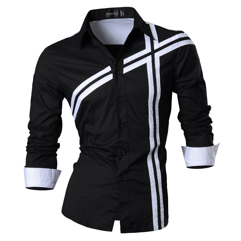 پیراهن بهار 2019 پیراهن مردانه شلوار جین گاه به گاه پیراهن آستین بلند گاه به گاه پیراهن آستین بلند لاغر مناسب Z006