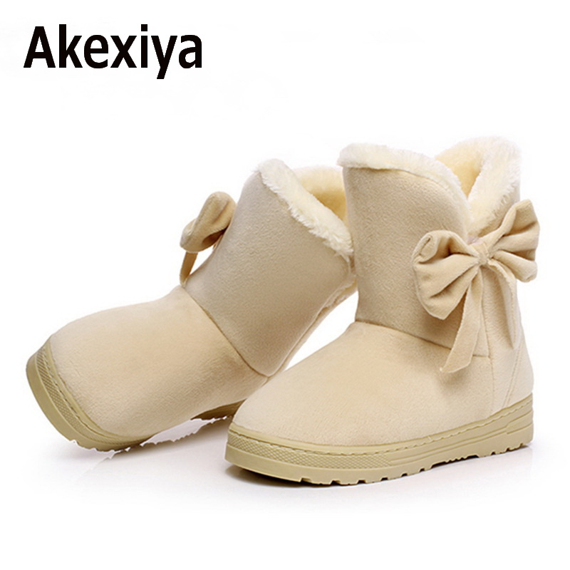 Akexiya Women winter fashion solid snow boots female ankle boots with fur warm boot woman casual shoes botas femininas 2016 rhinestone sheepskin women snow boots with fur flat platform ankle winter boots ladies australia boots bottine femme botas