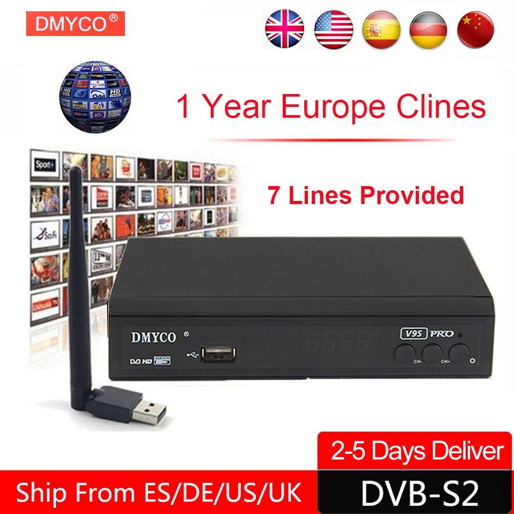 1 anno Europa C-Server di linea HD V9S Pro DVB-S2 lnb Ricevitore Satellitare Full 1080 p Italia Spagna Arabo TV box Con USB Wifi Recettore