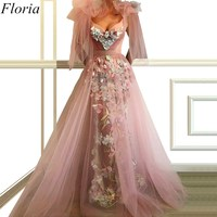 Elegant Fairy Couture Long Celebrity Dresses 2019 Flowers Sweetheart Evening Prom Party Dress Red Carpet Gowns Women Dress