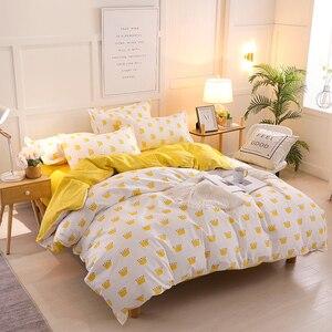 Image 3 - Bonenjoy黄色の王冠シングルベッドセット反応性プリントシンプルなダブルベッドシートropaデcama女王ベッドリネンキングサイズ寝具