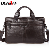 OGRAFF Genuine Leather Men Bag Handbags Briefcases Shoulder Bags Laptop Tote Bag Men Crossbody Messenger Bags