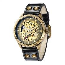 SHENHUA 2018 Male Clock Antique Bronze Style Steampunk Man Wristwatch Skeleton Mechanical Wrist Watch horloges mannen