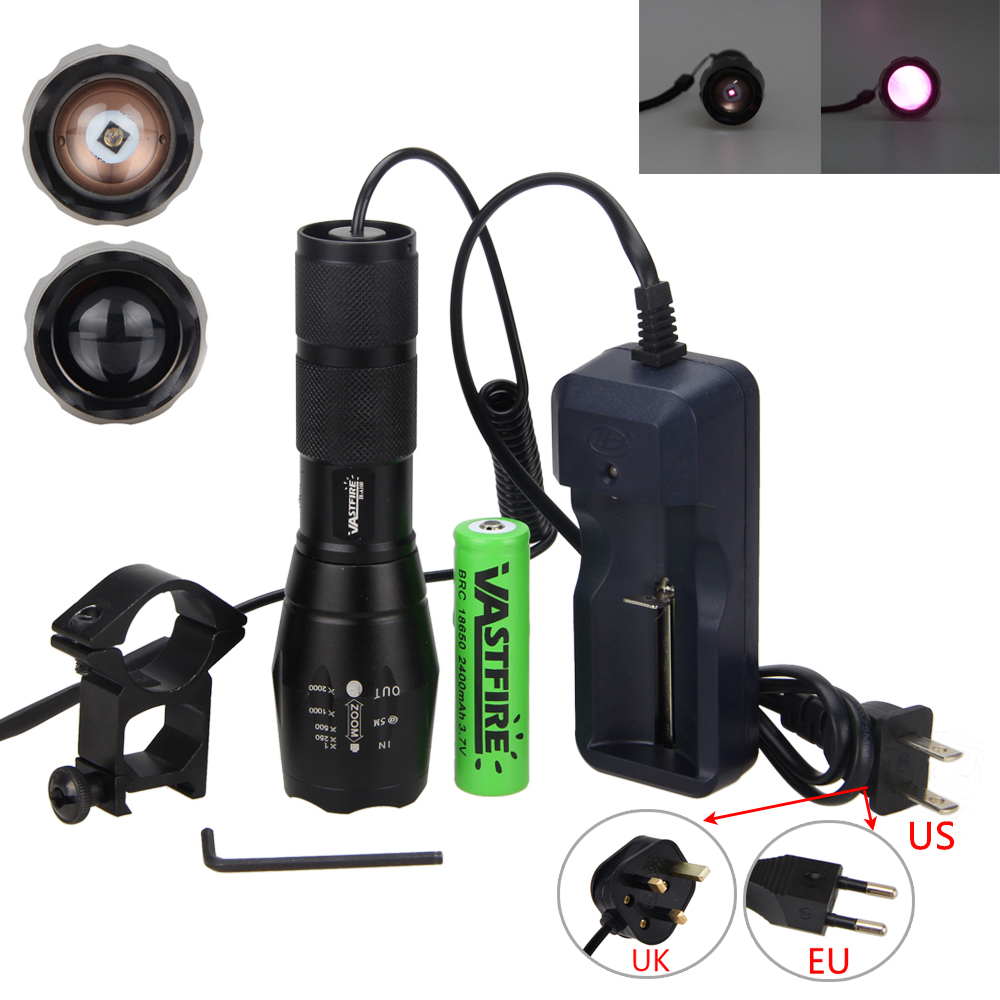 7W OSRAM Infrared LED Zoomable Flashlight IR 940nm Hunt Torch Rife Light Mount