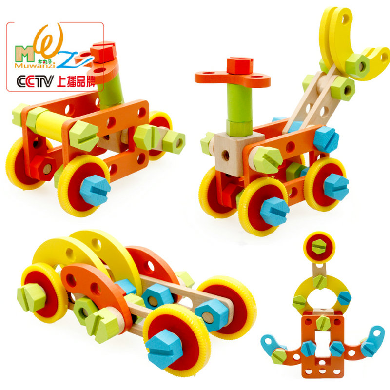 Free Shipping Children's Early Childhood Educational Wooden Toys Fittings Combination Car Toy, Wood Assembly Disassembly Toy Car