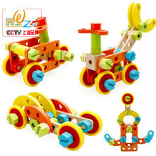 Free shipping children's early childhood educational wooden toys Fittings combination Car toy, Wood Assembly disassembly toy car(China)