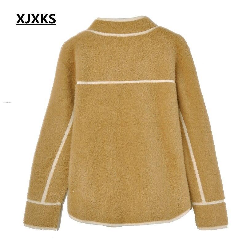 Et Xjxks Doux Manches Chaud noir De Vêtements Nouvelle Casual Longues Cardigan gris Manteaux Laine D'hiver blanc Poitrine Automne Épais 2018 Camel Unique Femmes rZ0Zqwt