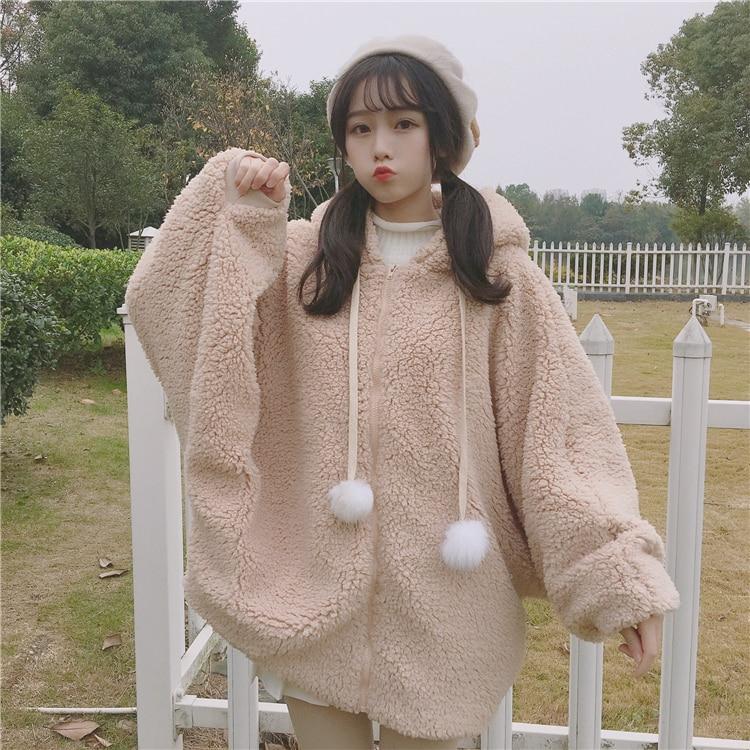 358e9b2b7b Winter Women Kawaii Thicken Coat Japanese Cute Rabbit Lolita Warm Outerwear  Jackets Soft Fluffy Fleece Bunny Ear Hooded Coat-in Trench from Women s  Clothing ...