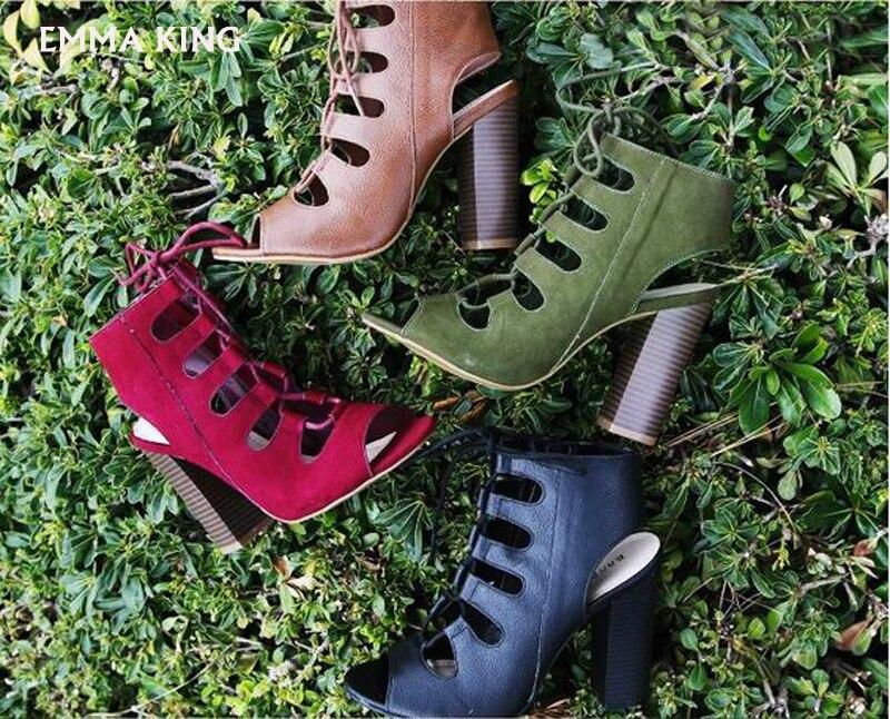 verde Sandalias Zapatos Moda Nuevo Estilo Mujer Tacón De Cm Verano Brown Correa Hueco Cruz Grueso 10 Plus Tamaño 2019 4Bgqf1