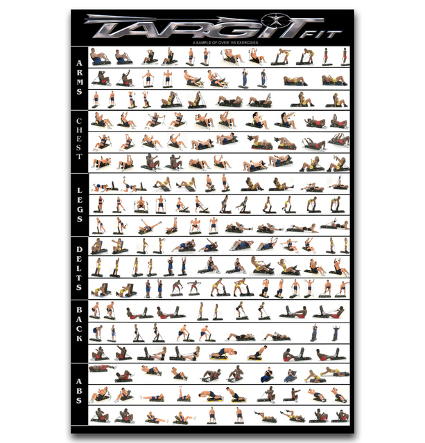 Fx122 Hot Gym Dumbbell Workout Home Train Body Exercise Chart New Custom Poster Art Silk Light Canvas Room Wall Print Decor