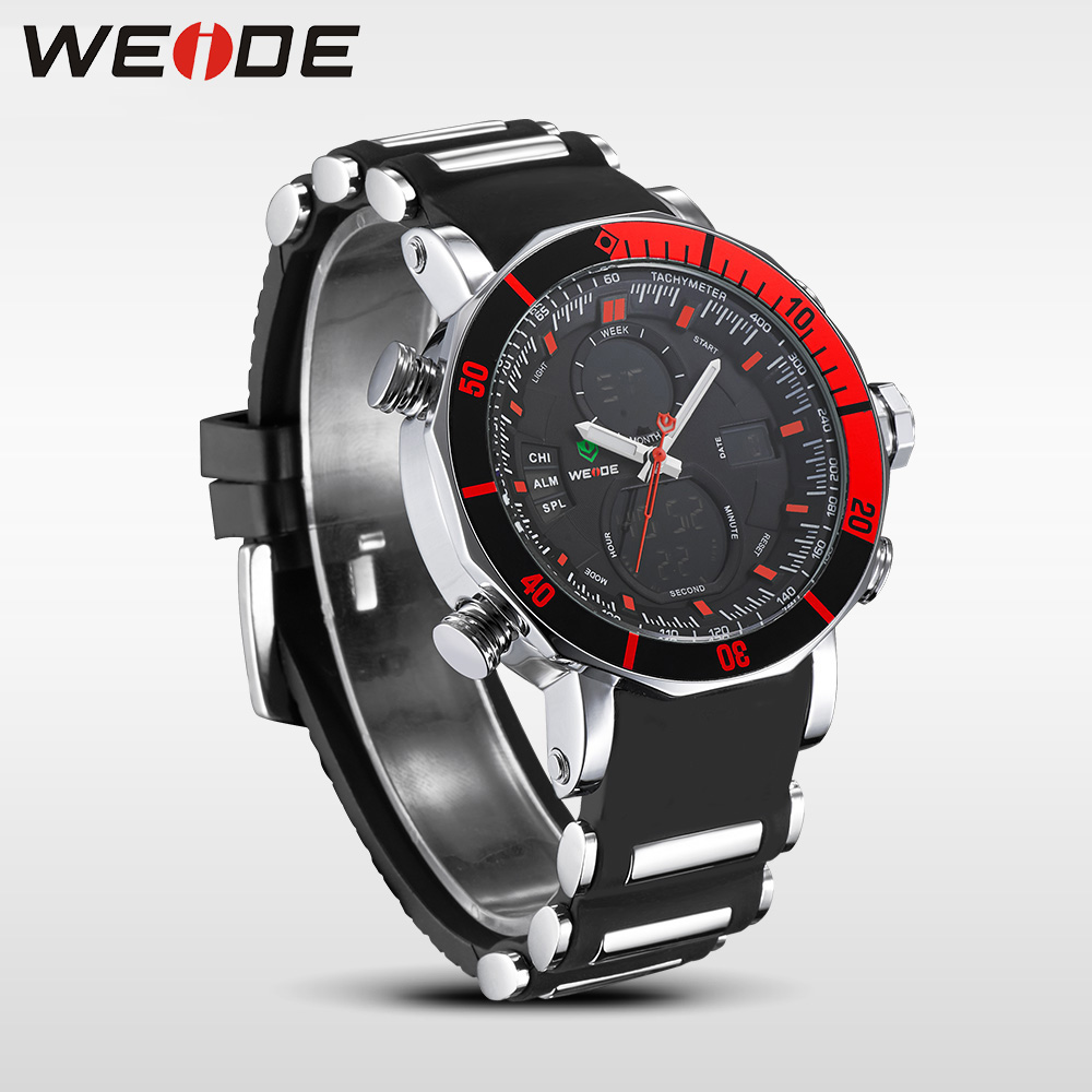WEIDE Unique Red Black Mens Digital Dual Time Watch Acero inoxidable - Relojes para hombres - foto 3