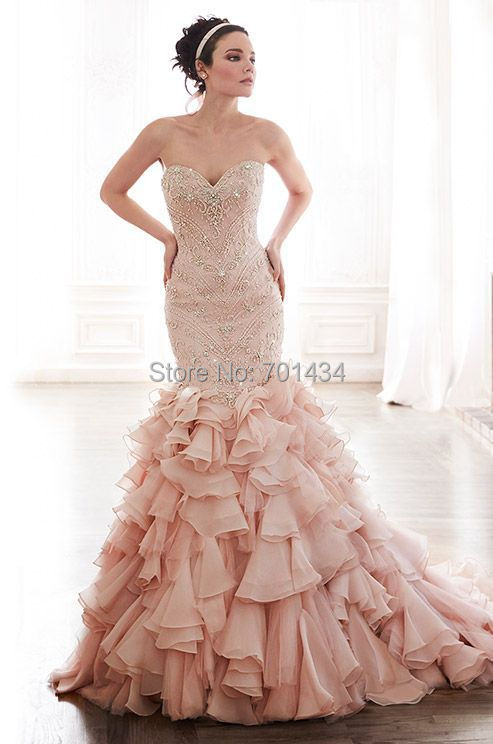 Stunning Crystals Beading Bodice Mermaid Organza Wedding