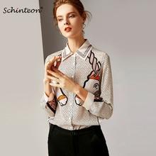 86612eae173049 2019 Schinteon 100% Real Silk Blouse Horse Print Shirt Women Spring Summer Long  Sleeve Shirt
