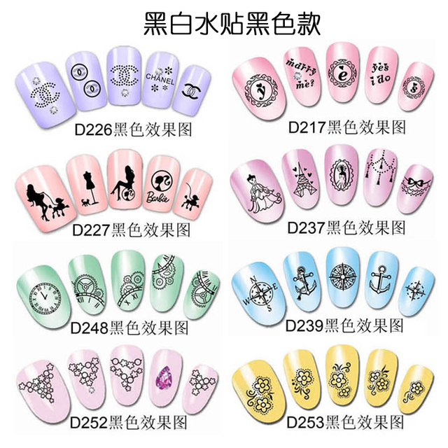 New hot nail art water transfer printing finger applique diy simple black-and-white watermark applique