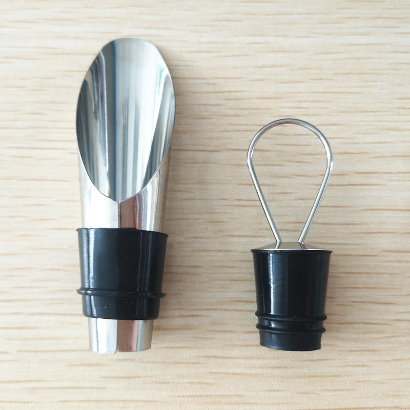 2pcs/Set Stainless Steel Liquor Aerating Decanter Pourer Spout Flow Wine Bottle Bar Tools with Stopper Set|Wine Pourers| |  - title=