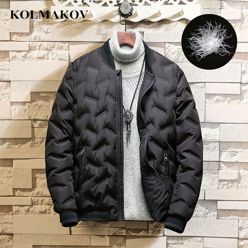 KOLMAKOV New Men's 85% Duck   Down     Coat   Thick Winter Outwear Mens Bomber Jackets and   Coats   2018 Warm Short M-3XL Duck   Down   Jackets