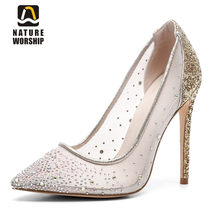 Nature Worship New Fashion Big Size 43 Pointed Toe Ladies Pumps High Square Heels Shoes Slip On Pumps Wedding Blingbling Shoes цена 2017