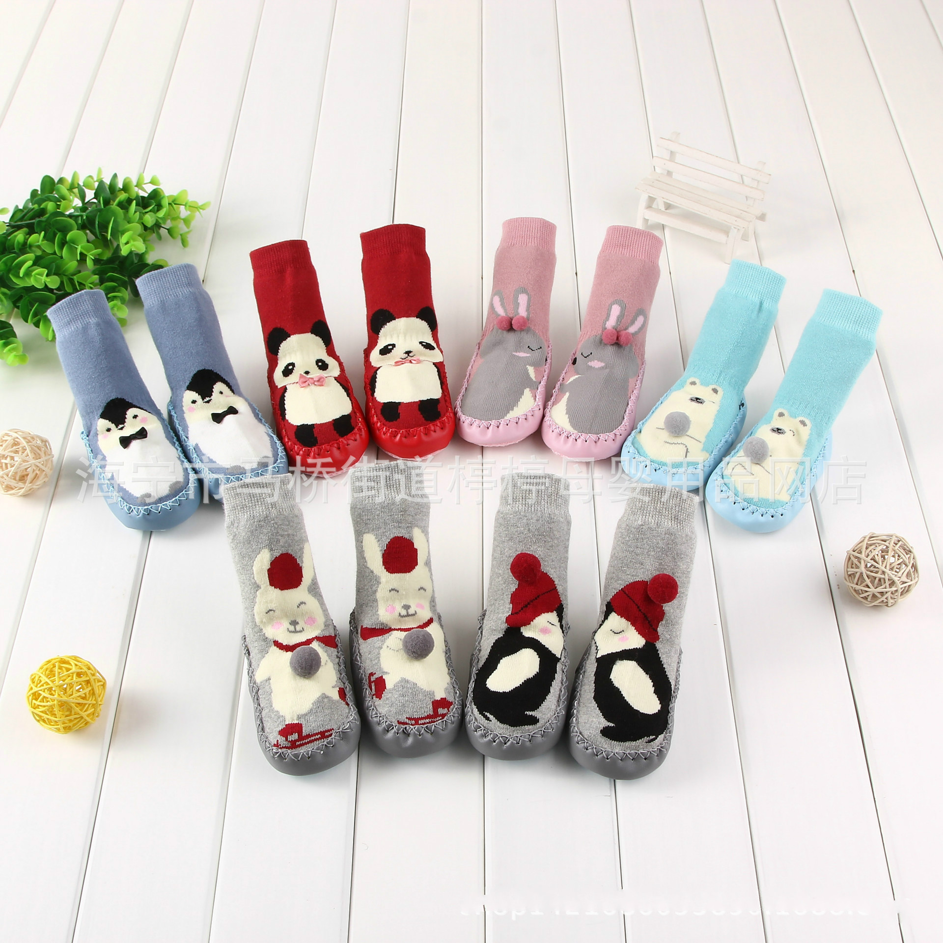 1pairs Baby Socks With Non-slip Soles Soft Floor Sock Leg Warmers Bear Toddler Shoes Sock Cotton Rabbit Panda Animal Design First Walkers Baby Shoes