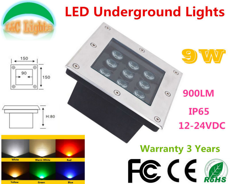 Factory Direct Selling Square 9W LED Underground Lamps DC12 24V Outdoor IP65 Waterproof Buried lights CE ROHS Garden Lighting buried light led underground led underground lamp - title=