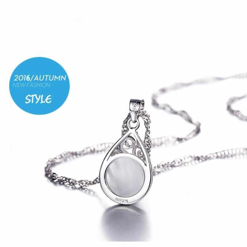 Neue Heiße Mondlicht Opal Wasser Tropfen Totem Anhänger Halskette 45cm Box Kette Halsband Für Frauen 925 Sterling Silber Schmuck medaillon SAN1