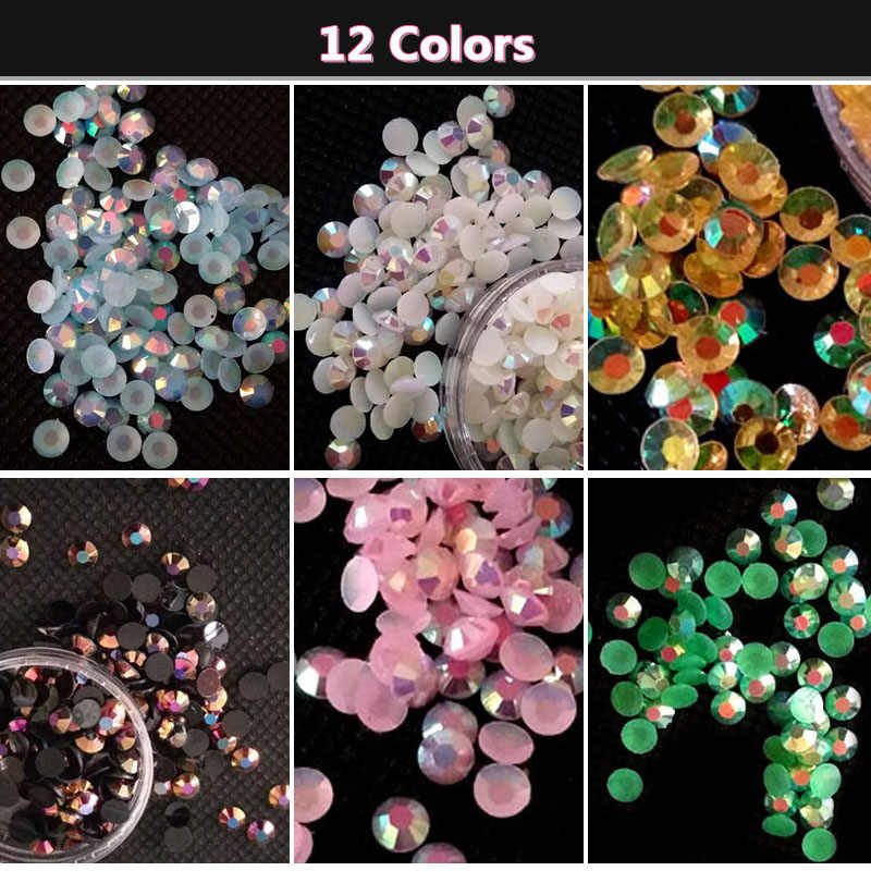 4MM Gelee AB Strass Handy Schönheit Dekorationen DIY Nail art Materialien Flache Diamanten