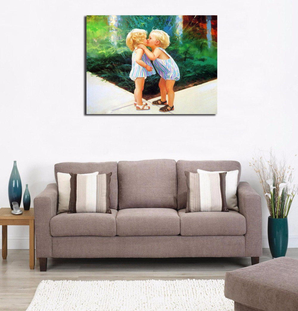 Modern Paintings For Living Room Aliexpresscom Buy Baby Boy Kiss Girl Picture Lovely Painting