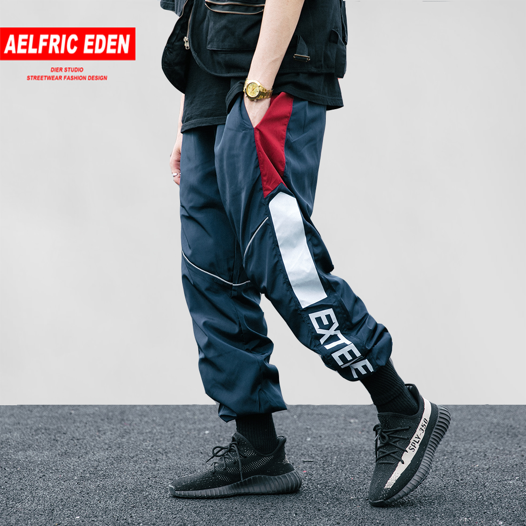 Aelfric Eden Casual Pants Men Letter Patchwork Track Trousers Elastic Waist Sweatpants Fahsion Joggers Harajuku Streetwear As120