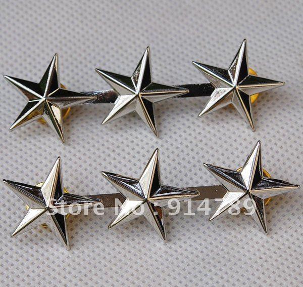 PAIR OF WW2 US ARMY OFFICER 3 STAR LIEUTENANT GENERAL RANK BADGES PIN -32139