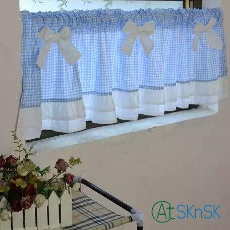 Corée style trois couleurs épissure plaid dentelle arc court rideau cuisine semi-ombre rideau café maison décorative rideau 40*150 cm