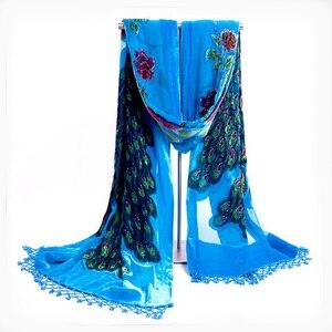 Image 2 - Brown National Trends Handmade Beaded Embroidery Scarf Velvet Silk Shawls Scarves Floral Peacock Echarpes Tassels kerchief NP063