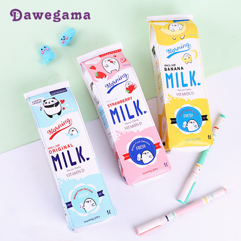 Dawegama Milk Bottle Pencil Case Cute Duck PU Pen Bag Box Storage Pouch Material School Supplies Stationery Gift For Girls Boys