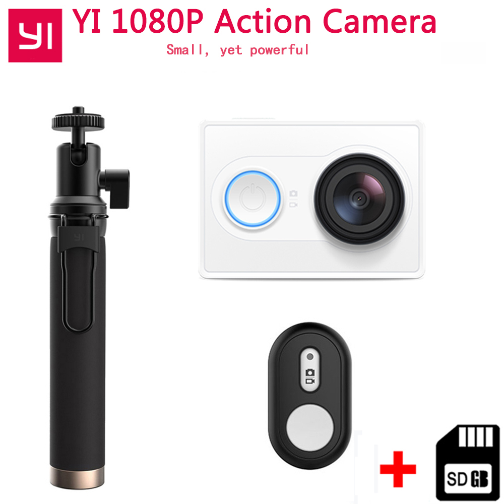 цена на YI Action Camera 1080P Xiaoyi Sport Camera 16MP Full HD 155 degree Ultra-wide Angle Sports Mini Camera add Selfie Stick Bundle