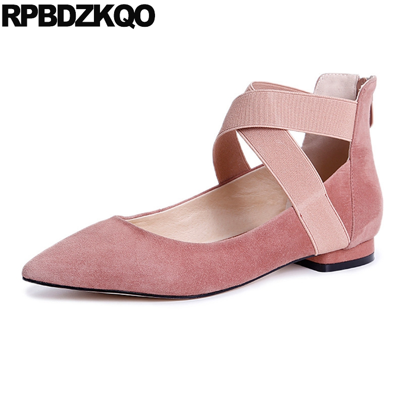 Women Ballerina Pointed Toe Ladies Designer Shoes China 2018 Ballet Ankle Strap Suede Pink Cute Elastic Flats Japanese Cross odetina 2017 new designer lace up ballerina flats fashion women spring pointed toe shoes ladies cross straps soft flats non slip