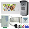 "Wired 7"" Video Door Phone Intercom Entry System 1 Monitor + 1 RFID IR Access Camera + Electric Lock For Villa Free Fast Shipping"