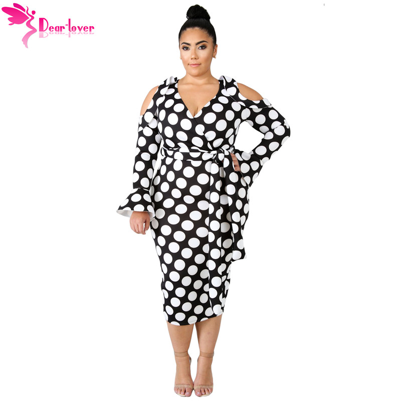 Detail Feedback Questions about Dear Lover Plus Size 4XL 5XL Women Clothing  Autumn Long Sleeve Black White Polka Dot Cold Shoulder Curvy Dress Vestidos  ... fee1b52a7483